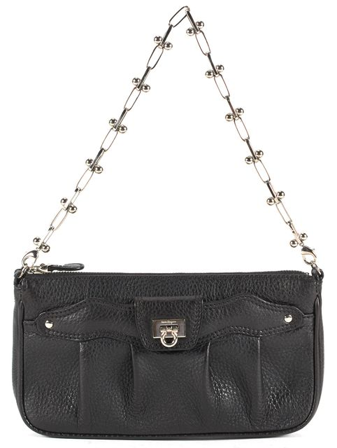 SALVATORE FERRAGAMO Black Pebbled Leather Chain Strap Small Shoulder Bag