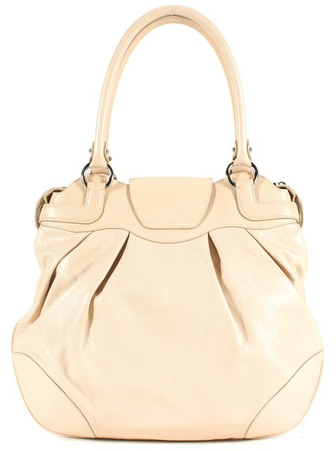 SALVATORE FERRAGAMO Ivory Leather Silver Tone Hardware Shoulder Bag
