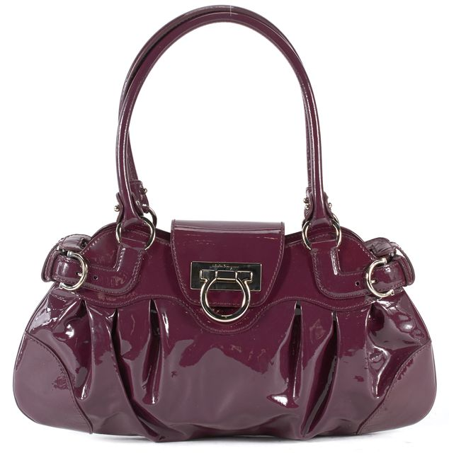 SALVATORE FERRAGAMO Purple Patent Leather Silver Hardware Shoulder Bag