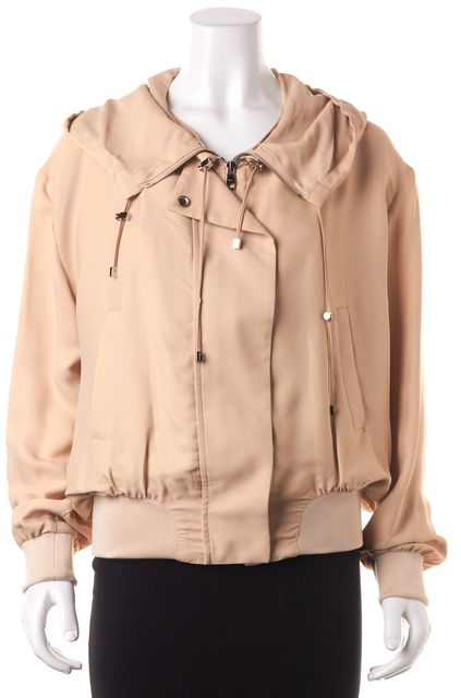 SALVATORE FERRAGAMO Beige Double Zip Up Hooded Jacket