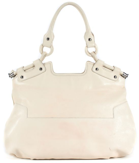SALVATORE FERRAGAMO Ivory Leather Silver Hardware Shoulder Bag