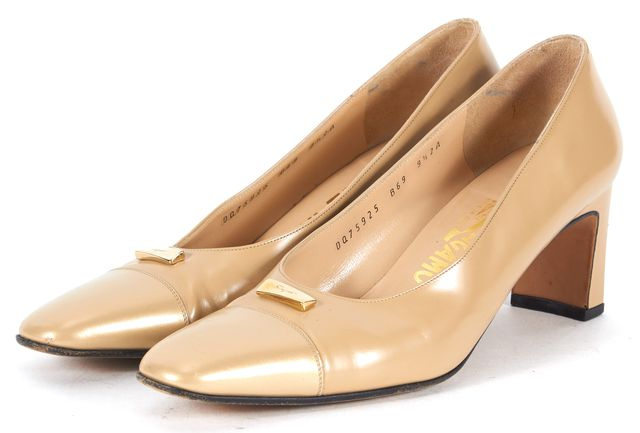 SALVATORE FERRAGAMO Beige Leather Square Cap Toe Pumps