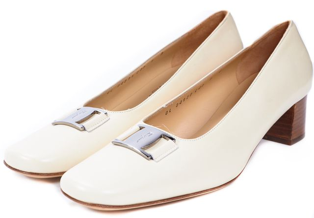 SALVATORE FERRAGAMO Ivory Leather Square Toe Block Heeled Pumps