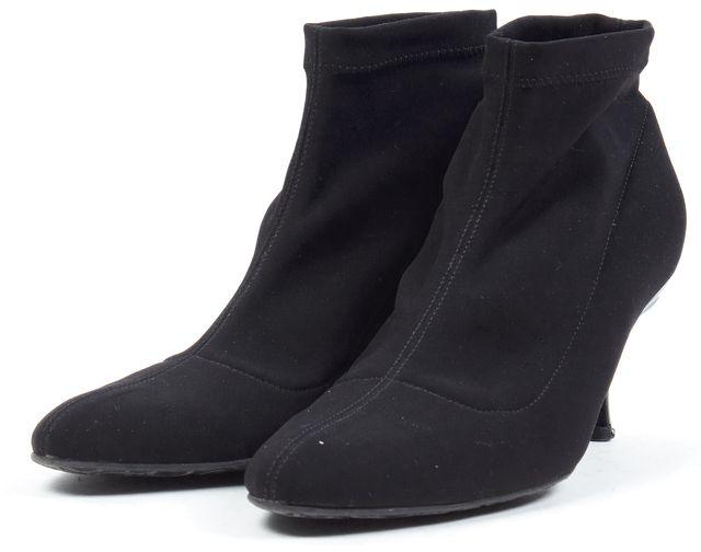 SALVATORE FERRAGAMO Black Stretch Kitten Heel Ankle Boots