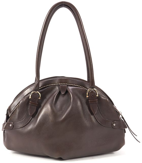 SALVATORE FERRAGAMO Brown Genuine Leather Shoulder Bag W/ Original Dust Bag