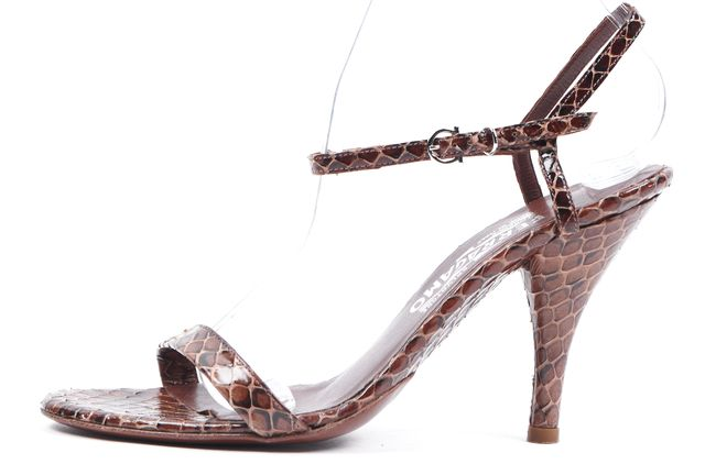 SALVATORE FERRAGAMO Brown Snakeskin Leather Sandal Heels