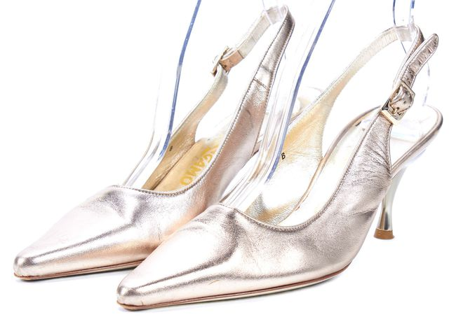 SALVATORE FERRAGAMO Gold Leather Pointed Toe Slingback Heels