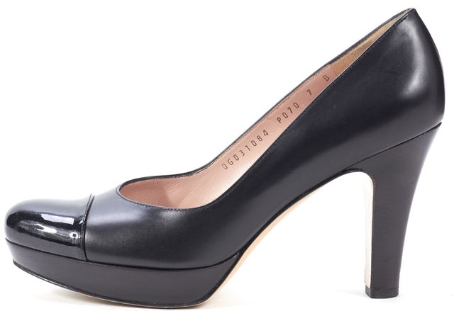 SALVATORE FERRAGAMO Black Leather Patent Cap Toe Platform Heels