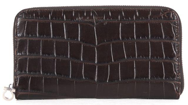 SALVATORE FERRAGAMO Chocolate Brown Crocodile Embossed Leather Wallet