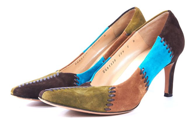 SALVATORE FERRAGAMO Brown Green Blue Suede Pointed Toe Heels
