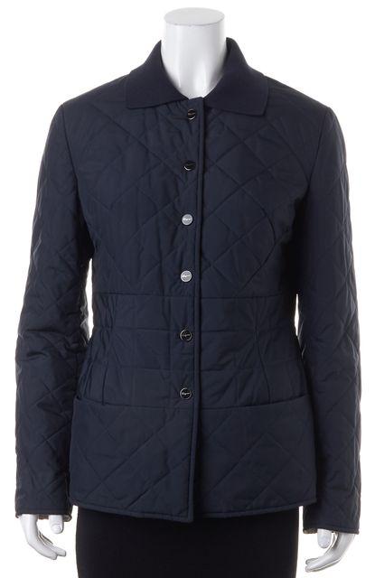 SALVATORE FERRAGAMO Navy Blue Quilted Cotton Basic Jacket