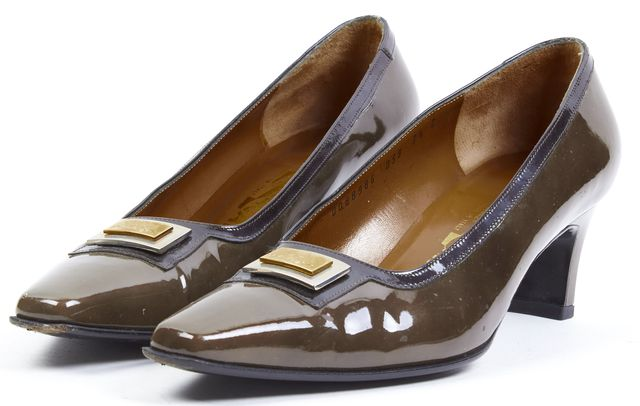 SALVATORE FERRAGAMO Green Patent Leather Pointed Toe Kitten Heel Loafers