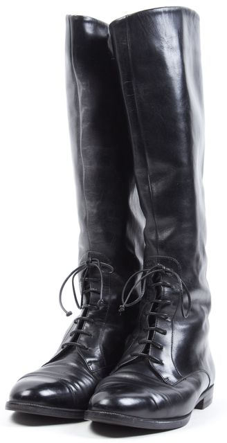 SALVATORE FERRAGAMO Black Leather Front Lace-Up Mid-Calf Boots