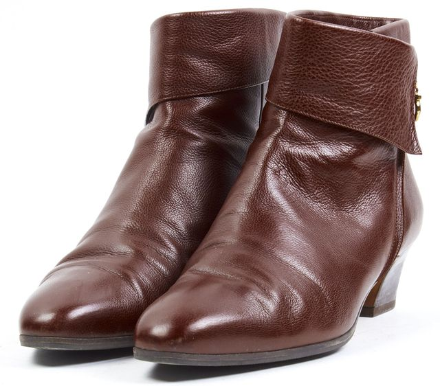 SALVATORE FERRAGAMO Brown Pebbled Leather Ankle Boots