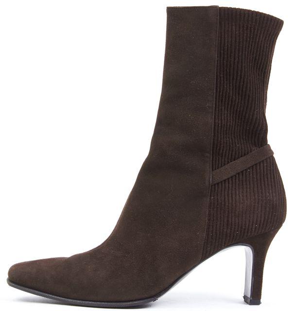 SALVATORE FERRAGAMO Espresso Suede Pointed Toe Ankle Boots