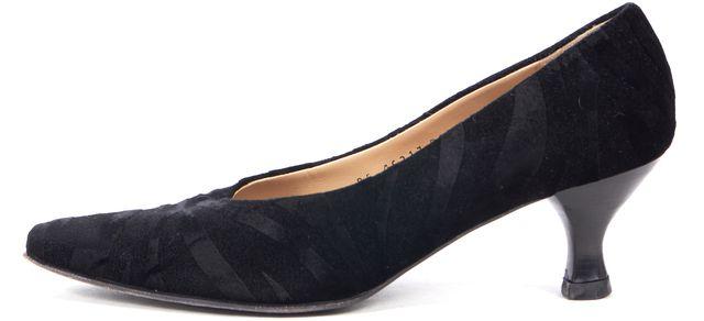SALVATORE FERRAGAMO Black Velvet Suede Animal Print Pump Heels