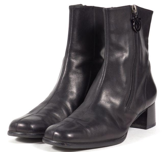 SALVATORE FERRAGAMO Black Leather Square Toe Ankle Boots