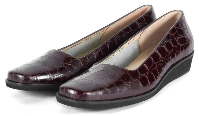 SALVATORE FERRAGAMO Brown Embossed Leather Mini Wedged Loafers