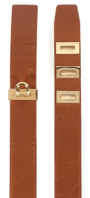 SALVATORE FERRAGAMO Medium Tan Brown Leather Belt
