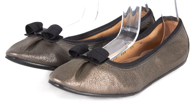 SALVATORE FERRAGAMO Metallic Gray Bow Embellished Leather Ballet Flats