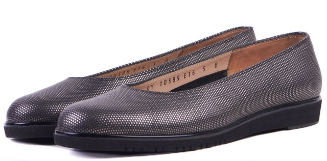 SALVATORE FERRAGAMO Black Silver Printed Leather Flats Platform Shoes