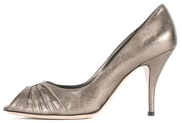 SALVATORE FERRAGAMO Gray Metallic Snake Embossed Leather Open-Toe Pump