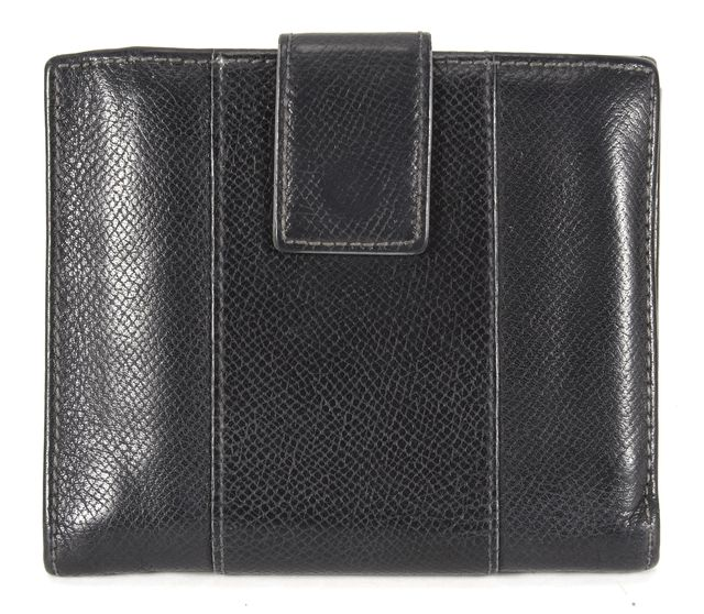 SALVATORE FERRAGAMO Solid Black Leather Double Side Bifold Wallet