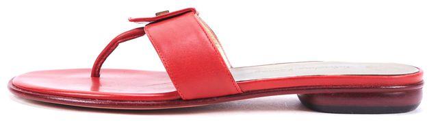SALVATORE FERRAGAMO Red Leather Flat Sandals Size 5.5 (L), 6 (R)