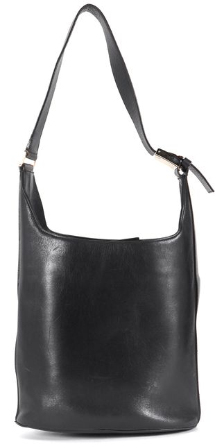 SALVATORE FERRAGAMO Black Leather Bucket Shoulder Bag