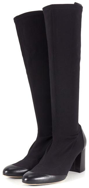 SALVATORE FERRAGAMO Black Elastic Leather Trim Mid-Calf Boots