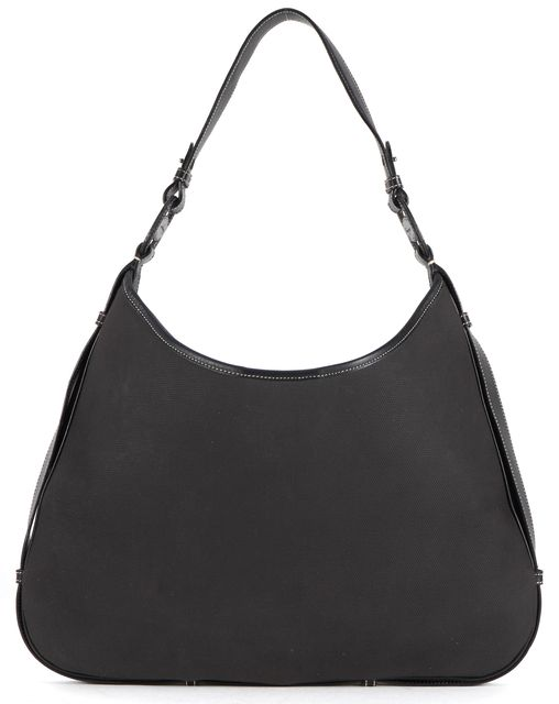 SALVATORE FERRAGAMO Black Canvas Contrast Stitch Leather Trim Shoulder Bag