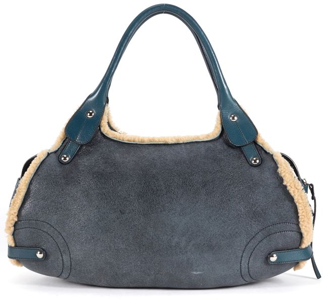 SALVATORE FERRAGAMO Blue Distressed Soft Leather Shearling Lined Shoulder Bag