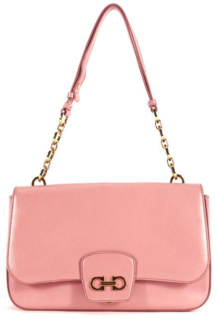 SALVATORE FERRAGAMO Baby Pink Saffiano Leather Shoulder Bag