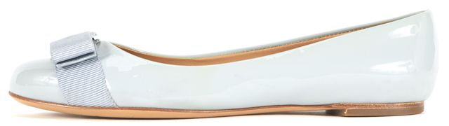 SALVATORE FERRAGAMO Patel Blue Patent Leather Varina Flats