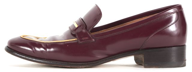 SALVATORE FERRAGAMO Burgundy Red Patent Leather Reed Loafers