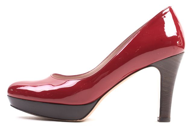 SALVATORE FERRAGAMO Red Patent Leather Giara Stacked Heels
