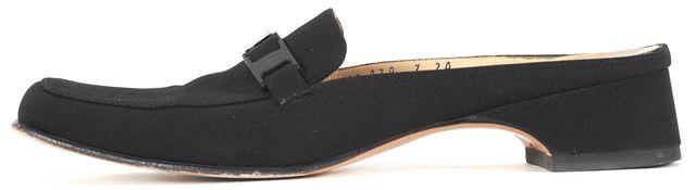 SALVATORE FERRAGAMO Black Canvas Square Toe Mule Loafers