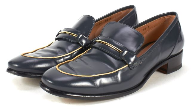 SALVATORE FERRAGAMO Dark Teal Blue Gold Leather Loafers