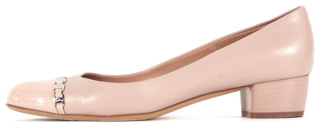 SALVATORE FERRAGAMO Dusty Pink Chain Embellished Leather Heels
