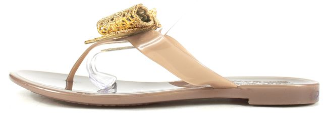 SALVATORE FERRAGAMO Beige Gold Metallic Bow Rubber Bali Flat Sandals