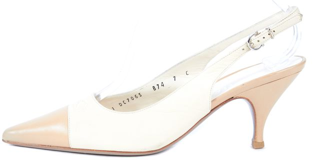 SALVATORE FERRAGAMO Ivory Leather Pointed Toe Slingback Low Heels