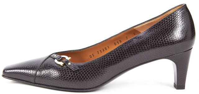 SALVATORE FERRAGAMO Black Lizard Embossed Leather Heels Pumps