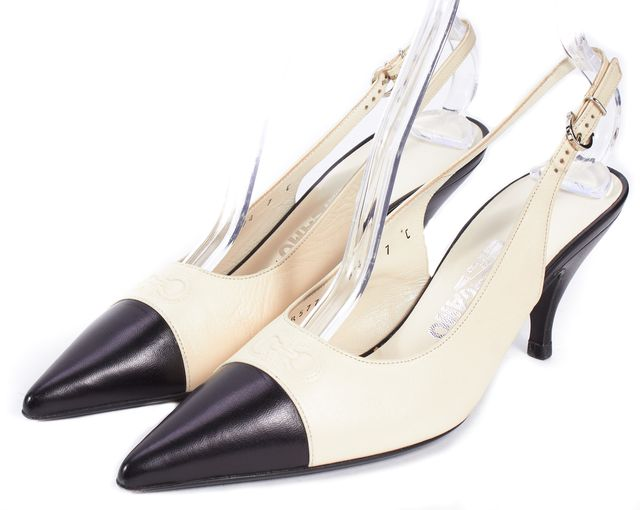 SALVATORE FERRAGAMO Ivory Black Leather Pointed-Toe Sling Back Pumps