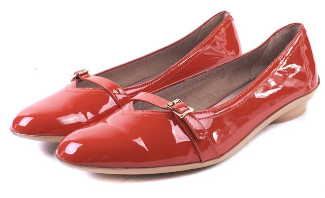 SALVATORE FERRAGAMO Red Patent Leather Audrey Mary Jane Flats