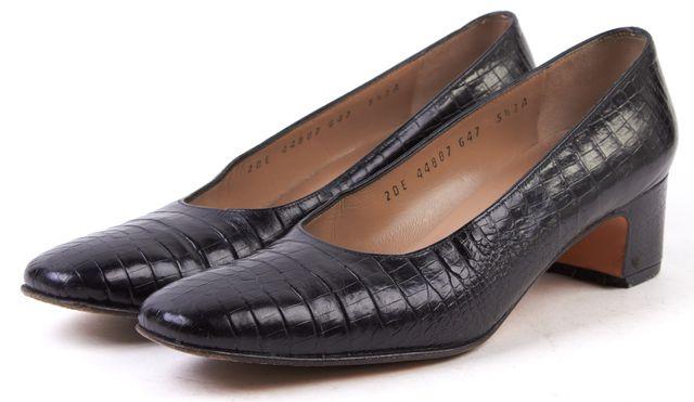 SALVATORE FERRAGAMO Black Croc Embossed Leather Pump Heels