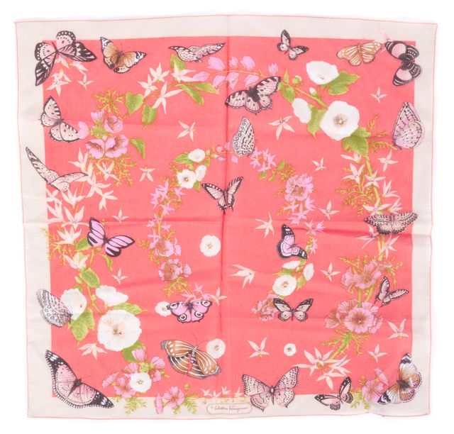 SALVATORE FERRAGAMO Pink Sheer Cotton Floral Butterfly Print Small Square Scarf