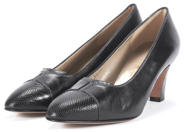 SALVATORE FERRAGAMO Black Leather Pump Heels