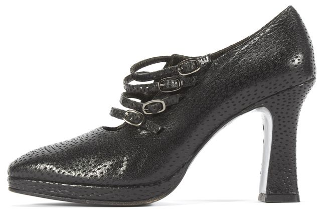 SALVATORE FERRAGAMO Black Leather Multi Mary Jane Heels