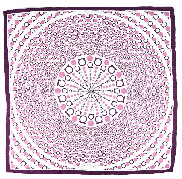 SALVATORE FERRAGAMO Purple Abstract Silk Monogram Scarf