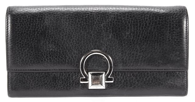 SALVATORE FERRAGAMO Black Silver Hardware Leather Wallet